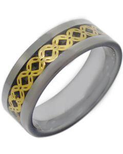 COI Titanium Gold Tone Celtic Beveled Edges Ring With Carbon Fiber-JT3864