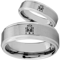 COI Tungsten Carbide R2D2 Step Edges Ring - TG3815BB
