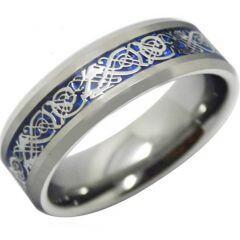 COI Titanium Blue Silver Dragon Beveled Edges Ring - JT3842