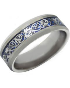 *COI Titanium Blue Silver Dragon Beveled Edges Ring - JT3842
