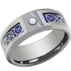 COI Titanium Blue Silver Dragon Ring With Cubic Zirconia - JT3844
