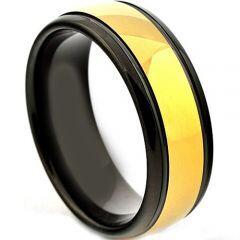 *COI Titanium Black Gold Tone Double Grooves Ring - JT3862