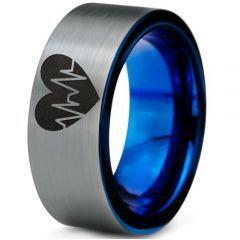 COI Tungsten Carbide Blue Silver Heartbeat & Heart Ring-388