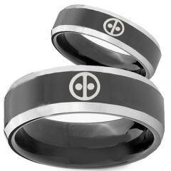 COI Titanium Black Silver Deadpool Beveled Edges Ring - 3894