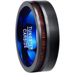 COI Tungsten Carbide Black Blue Ring With Offset Wood-TG3901