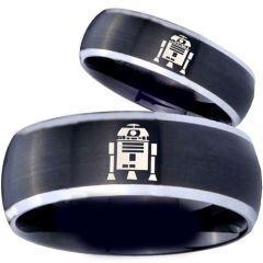 COI Titanium Black Silver R2D2 Beveled Edges Ring - 3918