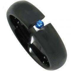COI Black Tungsten Carbide Soliatire Created Sapphire Ring-TG3947
