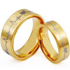 *COI Gold Tone Tungsten Carbide Heartbeat Ring - TG3953