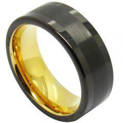 COI Titanium Black Gold Tone Pipe Cut Flat Ring - JT3983