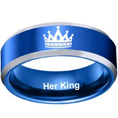 *COI Tungsten Carbide Blue Silver Her King Crown Ring - TG4708