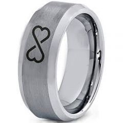 *COI Tungsten Carbide Infinity Heart Beveled Edges Ring-4003