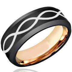 COI Titanium Black Pink Infinity Beveled Edges Ring - JT4012