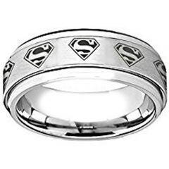 COI Titanium SuperMan Step Edges Ring - JT4032