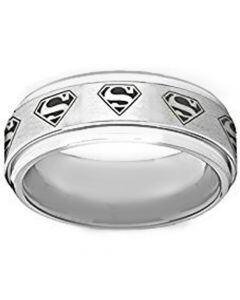 *COI Tungsten Carbide Superman Step Edges Ring - TG1295AA