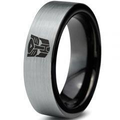 COI Titanium Black Silver Transformer Pipe Cut Flat Ring-JT4033