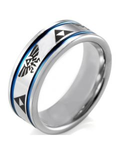 COI Tungsten Carbide Blue Silver Legend of Zelda Ring - TG4043A