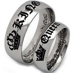 *COI Titanium King Queen Crown Dome Court Ring - JT4046