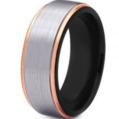 COI Titanium Black Rose Step Edges Ring - JT3865