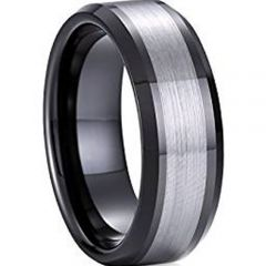 COI Titanium Black Silver Center Line Beveled Edges Ring-JT4080