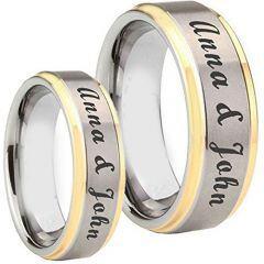COI Titanium Gold Tone Silver Custom Engraving Ring-4081