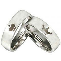 *COI Titanium King Queen Crown Pipe Cut Flat Ring - JT4091