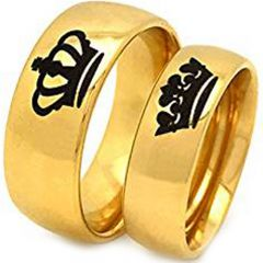 *COI Gold Tone Titanium King Queen Crown Dome Court Ring-4092