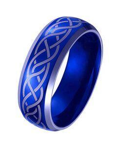 *COI Tungsten Carbide Blue Silver Celtic Beveled Edges Ring - TG4100