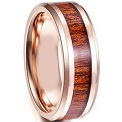 COI Rose Tungsten Carbide Beveled Edges Ring With Wood-TG4114AAA