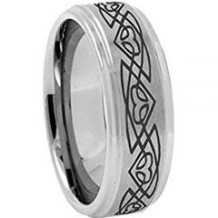 COI Tungsten Carbide Celtic Step Edges Ring - TG4117AAA