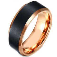 *COI Titanium Black Rose Beveled Edges Ring - 4154