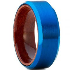 COI Blue Tungsten Carbide Beveled Edges Ring With Wood - TG4178