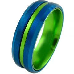 COI Tungsten Carbide Blue Green Center Groove Ring - 4210