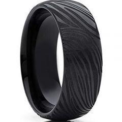 COI Black Titanium Damascus Dome Dome Court Ring-4281