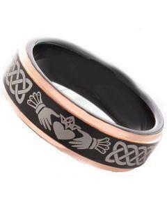 COI Titanium Black Rose Mo Anam Cara Step Edges Ring-JT3491