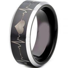 COI Titanium Black Silver HeartBeat Beveled Edges Ring - JT3503