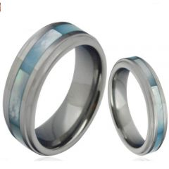COI Titanium Abalone Shell Step Edges Ring - JT3858