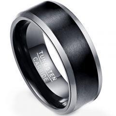 COI Tungsten Carbide Black Silver Beveled Edges Ring - TG4308