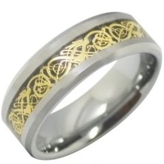 COI Titanium Gold Tone Dragon Beveled Edges Ring - JT3513