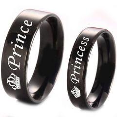 COI Black Titanium Prince Princess Crown Pipe Cut Ring-4331