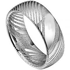 COI Titanium Damascus Dome Court Ring - JT3173BB