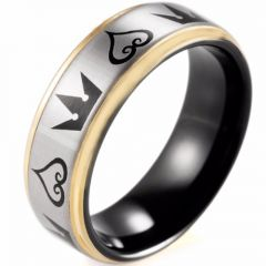 COI Tungsten Carbide Black Rose Kingdom & Hearts Ring - TG4352