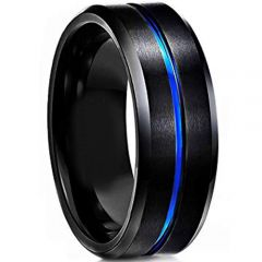 COI Tungsten Carbide Black Blue Center Groove Ring - TG4358