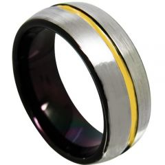 COI Titanium Black Gold Tone Center Groove Dome Ring-JT3581