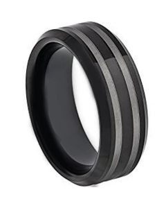 COI Black Tungsten Carbide Double Lines Beveled Edges Ring-4380