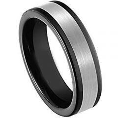 COI Tungsten Carbide Black Silver Pipe Cut Flat Ring - TG4383