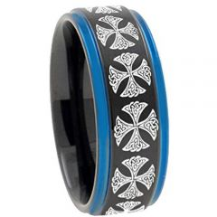 COI Titanium Black Blue Cross Step Edges Ring - 4410