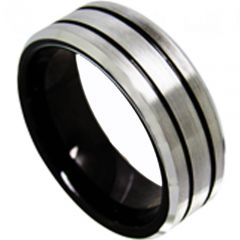 COI Tungsten Carbide Black Silver Double Grooves Ring-TG4423
