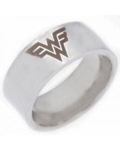 *COI Tungsten Carbide Wonder Woman Pipe Cut Flat Ring-TG4430
