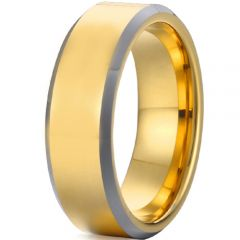 *COI Tungsten Carbide Gold Tone Silver Pipe Cut Flat Beveled Edges Ring-2022A