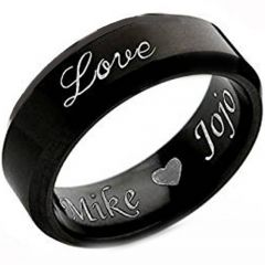 COI Black Tungsten Carbide Love Ring With Custom Engraving-4529